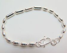 Pure S925 Sterling Silver Men Women  Oval Column Link Chain Bracelet/7.7  inches