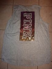 "VICTORIAS SECRET PINK RARE OMBRE BLING BLING SEQUIN TANKTOP ""PINK"" TEESHIRT NWT"