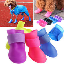 WOW 4Pcs Dog Rain Protective Boots Waterproof Puppy Pet Shoes Boots Anti-Slip
