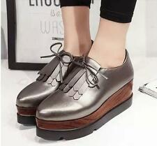 Womens Oxford Platform Hidden wedge high heels Lace-up Casual Shoes #