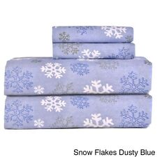Heavyweight Snow Flakes Dusty Blue Printed Queen Cotton Flannel Sheet Set