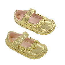 Koala Kids Girls Gold Soft Sole Mary Janes with Flower Detail