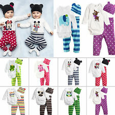 3Pcs Baby Boys Girls Kids Newborn Romper+Hat+Pants Trousers Outfits Set Clothes