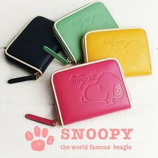PEANUTS SNOOPY Emboss Mini Wallet Coin Card Case Purse Zip from Japan R1884