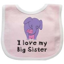 Inktastic I Love My Big Sister Elephant Baby Bib Purple Pink Calf Number One