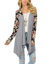 Womens Long Sleeve Irregular Hem Loose Cardigan Sweater Jacket Coat Outwear Tops