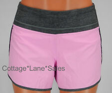 NEW LULULEMON Run Times Short 4 Vintage Pink Heathered Grey Deep Coal Shorts
