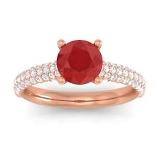 Red Ruby Sparkling Diamonds Solitaire Gemstone Ring Women 14K Rose Gold