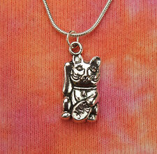 Neko Necklace, Snake Chain-Choose Your Length, Japanese Fortune Cat Lucky Maneki
