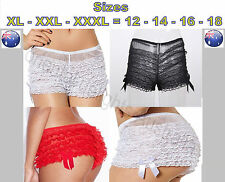 Plus size 12 14 16 18 Ladies sexy ruffle frilly sissy pantie underpants lingerie