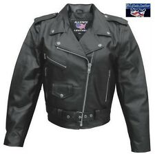 Ladies Classic Leather Motorcycle Biker Chick Jacket Allstate AL2101 XS - 5X