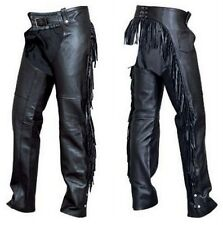 Ladies Buffalo Leather Fringed Motorcycle Riding Chaps Allstate Leather AL2407
