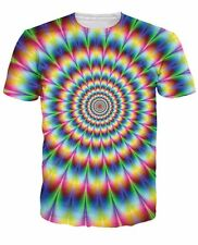 NEW 3D Trippy T Shirt Psychedelic Into the Rainbow Full Print Fashion Tee S M L