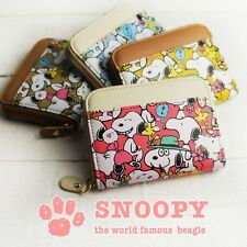 PEANUTS SNOOPY Print Mini Wallet Coin Card Case Purse Compact from Japan R1885
