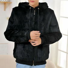 Vintage Leisure Coat Genuine Rabbit Fur Men's Hooded Jacket Coat Warm Waistcoat
