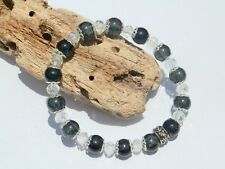 8mm BLACK CRACKLE GLASS BEADED CRYSTAL SILVER STRETCH CHARM BRACELETS MIXED SIZE