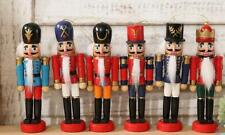 Christmas Walnut Soldiers Pendant Gift Wooden Nutcracker Soldier Ornaments 6pcs
