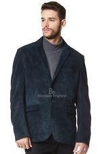 Mens Stylish Milano 2 button Classic Blazer Navy Suede 100 % Leather Jacket Coat