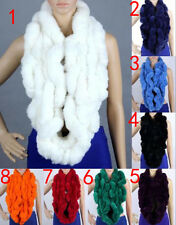 Women Real Rabbit Fur Shawl Cape Wrap Stole Scarf Scarves Winter