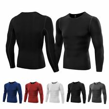 Mens Compression Base Layer Tight Top Long Sleeve Gym Running T Shirt Under Skin