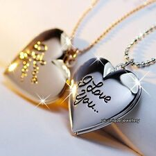 Rose Gold Silver Locket Heart Necklace Xmas Gifts For Her Daughter Sister Mother