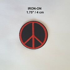 PEACE Sign Red Black Embroidery Iron-on Emblem Badge Love Patch Hippie Applique