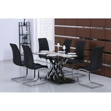 New Glass Dining Table Set with 4 or 6 Leather Modern Faux Black Chairs Dining R
