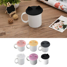 Anti-dust Glass Cup Cover Mug Suction Seal Lid Silicone Cartoon Airtight Spoon