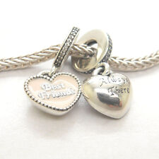 Genuine S925 Silver Best Friends Pink Hearts Clear CZ Dangle Bead Charm
