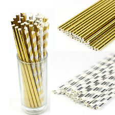 25 Pcs Biodegradable Gold Striped Foil Drinking Paper Straws Birthday Party summ