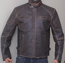 Buffed Brown Ribbed Cafe Racer Biker Motorcycle Leather Jacket