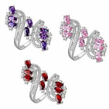 Gift Size 6-9 Plum Style Jewelry Finger Rings Colored Gems 18K Gold Filled