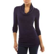 Women Ladies Long Sleeve Cowl Neck Pleated Casual Tops Blouse Plain Solid Shirts