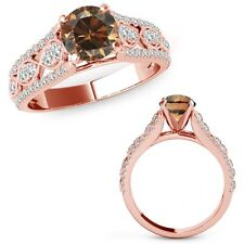 1.50 Carat Champagne Color Diamond Lovely Solitaire Halo Ring Band 14K Rose Gold