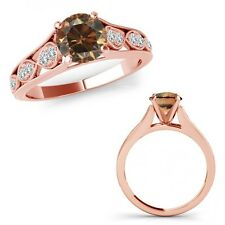 1 Carat Champagne Color Diamond Filigree Solitaire Halo Ring Band 14K Rose Gold