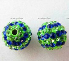 New! Qty 50 Blue & Green Rhinestone Shamballa Pave Beads (Sizes 6,8,10 mm)