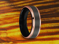 Wedding Band Tungsten Brushed & Rose Gold,6MM,Wedding Ring,Two Tone Tungsten.