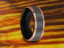 Wedding Band Brushed & Rose Gold Tungsten 8MM-Two Tone Ring,Anniversary Ring.