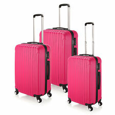 Luggage ABS Suitcase Trolley Hard Case Carry On Lightweight & TSA Lock -Rose Red