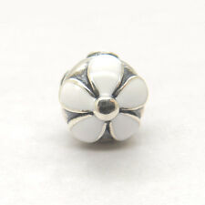 Authentic Genuine S925 Silver Darling Daisies White Enamel Clip Charm