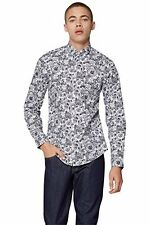 Moss London Mens Shirt Extra Slim Fit Black White Floral Long Sleeve Casual