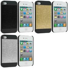 For Apple iPhone 4S 4 Hybrid Brushed Aluminum Sleek Hard Case Cover Accessory
