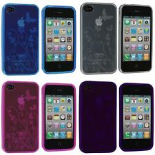 For iPhone 4S 4G TPU Flower Butterfly Color Jelly Skin Case Cover Accessory