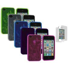 TPU Flower Butterfly Color Skin Case Cover+Screen Protector for iPhone 4S 4G