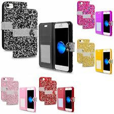 For Apple iPhone 7 [4.7] Luxury Bling Rhinestone Diamond Wallet Case Cover Slots