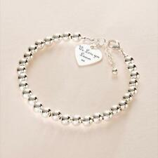 Real Sterling Silver Beaded Bracelet, Engraved Heart Charm with engraving