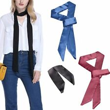 Women Fashion Skinny Scarf Long Stain Solid Tie Real Silk