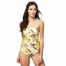 Butterfly By Matthew Williamson Womens Yellow Tropical Floral Print Swimsuit