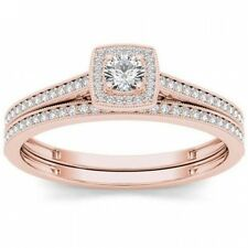Imperial 1/3 Carat T.W. Diamond Single Halo 10kt Rose Gold Engagement Ring Set.