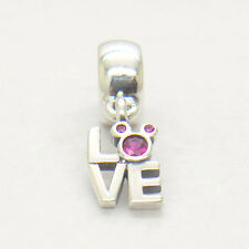 Authentic S925 Silver Love Mickey Red CZ Dangle Charm